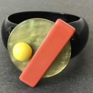 VTG Resin Bangle with Geometric Embellishment